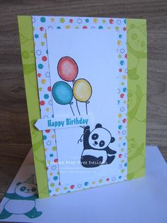 This cute Party Panda is perfect for a kids card. I stamped and coloured the balloons with Stampin' Up! Blends markers.
