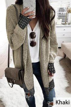 Stand Collar Long Sleeve Plaid Cardigan. Winter Outfits Women  20sComfortable Winter OutfitsBlack Jeans Outfit WinterLong Black SweaterLong  White ... a9d8c3a89