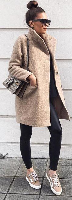 #winter #fashion /  Camel Coat + Leather Leggings
