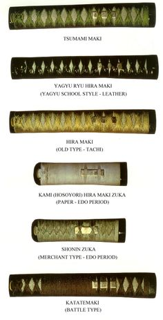 Differents styles of Tsuka and Tsukamaki