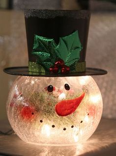 Check out the deal on Lighted Crackle Glass Snowman - 8 Inch Electric at Battery Operated Candles This would be easy enough to recreate. Snowman is made of crackle glass and features a black top hat wiLight up snowmanOur True Flicker Battery Operated Snowman Christmas Decorations, Snowman Crafts, Christmas Snowman, Holiday Crafts, Christmas Holidays, Christmas Ornaments, Log Snowman, Snowman Wreath, Diy Christmas Centerpieces