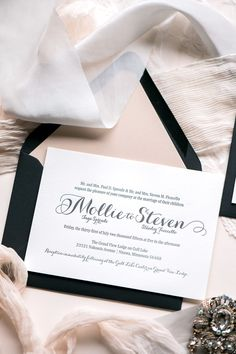 Elegant blush and black letterpress wedding invitation suite with a small touch of rose gold glitter. Elegant calligraphy script font for weddings. TIFFANY suite by Jupiter and Juno.
