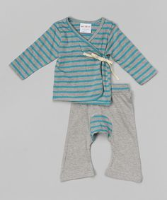 Look at this Sckoon Organics Green Tea & Gray Stripe Organic Wrap Top & Pants - Infant on #zulily today!