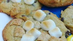 These s'mores cookies made with graham cracker cereal and instant pudding are topped with marshmallows and broiled briefly for a toasted effect. Campfire Cookies, Smores Cookies, No Bake Cookies, Chip Cookies, Baking Cookies, Vanilla Pudding Mix, Chocolate Cookie Recipes, Instant Pudding, Graham Crackers