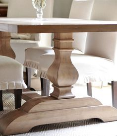 @Rae Dyer -Trestle table pedestal leg.  Is this what you were talking about?  I see a real easy way to do it.