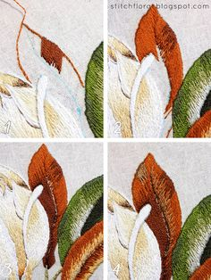 Magnolia Stitch Along Part 5 Hand Embroidery Videos, Flower Embroidery Designs, Hand Embroidery Stitches, Embroidery Hoop Art, Ribbon Embroidery, Cross Stitch Embroidery, Blackwork, Thread Painting, Needlework