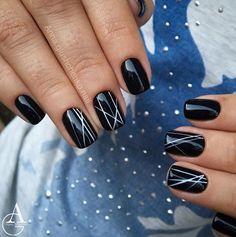 Christmas nails, Evening nails, Fashion shellacnails, Manicure 2017, Nail art stripes, New Year nails 2017, New year nails ideas 2017, Party nails