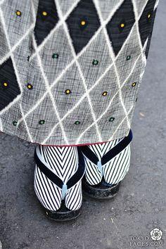 Japanes kimono outfit with Black & White sleek stripes socks.