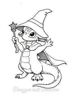 Technically, dragons are a geeky thing to like, as are rpg games. Easy Dragon Drawings, Cute Dragon Drawing, Dragon Sketch, Cute Coloring Pages, Adult Coloring Pages, Coloring Books, Dragon Coloring Page, Cartoon Dragon, Dragon Artwork