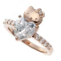 Hello Kitty x Swarovski Pink Gold Heart Love Wedding Engagement Ring