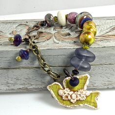 Chartreuse Birdie, OOAK Handcrafted Mixed Media, Art Glass, Ceramic and Polymer Artisan Bracelet