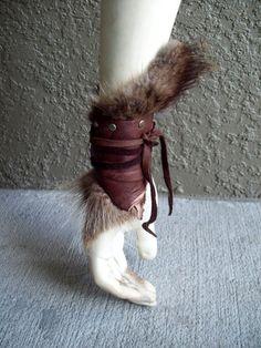 Woodland Fur Cuff  burning man tribal by ArchaicLeatherworks, $20.00