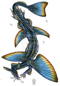 Seadragon Jenu by *Badhead-Gadroon Creature 3d, Creature Concept, Creature Design, Magical Creatures, Fantasy Creatures, Sea Creatures, Myths & Monsters, Sea Monsters, Flying Monsters