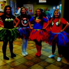 Super hero tutu costumes | DIY superhero costumes w tutus!  sc 1 st  Pinterest & 26 u002790s Group Halloween Costumes You and Your Squad Should Dress Up ...
