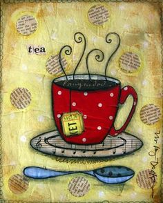 The Vintage Sister Studio: lucky. I love this mixed media project. Tea Art, My Tea, Mug Rugs, Coffee Art, Art Journal Inspiration, Applique Quilts, Mixed Media Art, Altered Art, Collage Art