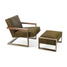 "NOVA CHAIR    Materials: Stainless steel, walnut, and wool upholstery - Also available in Bronze olive cowhide and Walnut  Dimensions: 28""W x 25""D x 30""H    Options: Walnut, maple / Wool, mohair, ultrasuede cowhide, leather, fur, or COM"