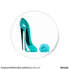 Turquoise Stiletto Shoe and Rose Round Sticker