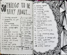 Journal art 50 things to be happy about list