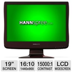 "Experience stunning digital images with Hannspree HANNSjoy SM198DPR 19"" Class Widescreen LCD Monitor. The Hannspree HANNSjoy 19"" Class Widescreen LCD Monitor has a 15,000:1 dynamic contrast ratio and a 1,000:1 native contrast ratio that produce razor sharp, colorful images. The 5ms response time reduces image distortion, delivering clear images even in fast-moving scenes."