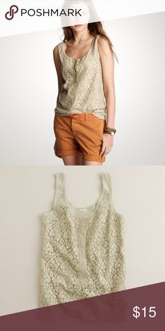 J.Crew lace-over tank Great layering piece for Spring. Good used condition. Olive green lace-over tank size small. Front lace with hidden button feature. Back is plain. J. Crew Tops Tank Tops