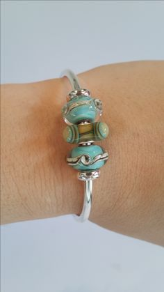 Trollbeads Bangle including Traces and Aqua Edge Triangle - www.trollbeads.com