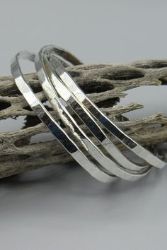 Leather And Silver Bracelet Mens Unique Silver Rings, Silver Rings With Stones, Mens Silver Rings, 925 Silver, Hammered Silver, Silver Bangle Bracelets, Sterling Silver Necklaces, Silver Earrings, Bracelet Charms