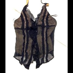Black silk Guess halter top with rhinestone button Black silk chiffon, lined in nude, halter, worn once. Guess Tops