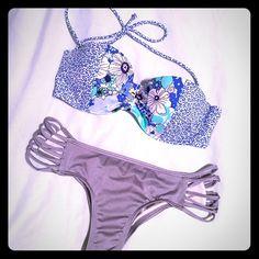 Victoria's Secret Bikini S Floral strapless top 34 C Grey bottom size small. Victoria's Secret Swim Bikinis