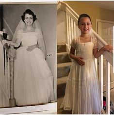 65 year old wedding dress reconstructed. For more information click the link in the bio.