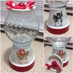 Snowman Christmas Candy Jar Gumball Machine by CarolinaKrafts Christmas Clay, Christmas Snowman, Christmas Projects, Holiday Crafts, Christmas Ornaments, Homemade Christmas, Clay Pot Crafts, Diy Crafts, Christmas Centerpieces