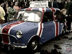 """Mornin Miniacs Let's have a Throw Back Thursday shot from the 1967 Montreal World Fair and what looks to be a valiant attempt at the """"Most People In A Mini"""" challenge!  Have a great day folks"""