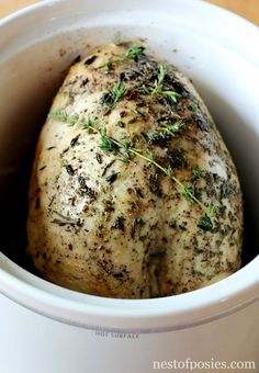 I did one in the slow cooker. I removed the skin, seasoned it and added 2 jars of gravy. when it was done it fell off the bones and it was so tender and moist. Great idea for camping at Thanksgiving. Slow Cooker Turkey, Crock Pot Slow Cooker, Crock Pot Cooking, Slow Cooker Recipes, Crockpot Recipes, Cooking Recipes, Healthy Recipes, Cooking Tips, Whole30 Recipes