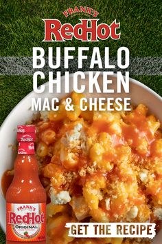 As if mac & cheese couldn't get any better, we've spiced it up with chicken + Frank's RedHot Buffalo Wings Sauce. It's the cheesiest, easiest way to impress your tailgate crew. Tap the pin for Frank's Ultimate Buffalo Chicken Mac & Cheese recipe. Casserole Recipes, Crockpot Recipes, Chicken Recipes, Cooking Recipes, Healthy Recipes, Vegetarian Cooking, Easy Cooking, Tamales, Pasta Dishes