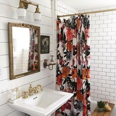 Currently inspired by the shower curtain and bathroom design of this charming Airbnb Colorful, patterned shower curtain / subway tiles / shiplap / gold fixtures Bad Inspiration, Decoration Inspiration, Bathroom Inspiration, Decor Ideas, Boho Ideas, Style Ideas, Diy Ideas, Spiritual Inspiration, Writing Inspiration