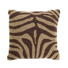 Clever Carriage Home Zebra Handcrafted Hooked Pillow