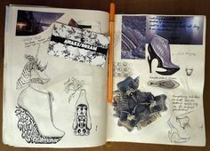 Fashion Sketchbook footwear design sketch book exploring texture, pattern & colour; fashion design drawings; shoe sketches // Anastasia Radevich