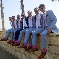 Great matching groomsmen at this wedding in Cyprus! Love the purple socks!