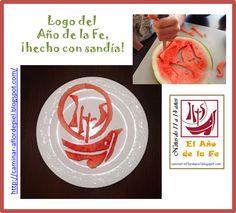 Year of the Faith logo with watermelon. Logo de El Año de la Fe usando sandía