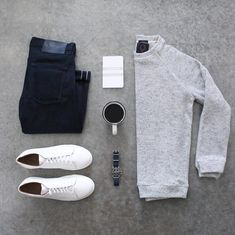 12 Men Sweater Outfits Ideas Worth Try - Herren Style Mode Outfits, Casual Outfits, Men Casual, Fashion Outfits, Casual Styles, Casual Wear, Smart Casual, Fashion Clothes, Fashion Boots