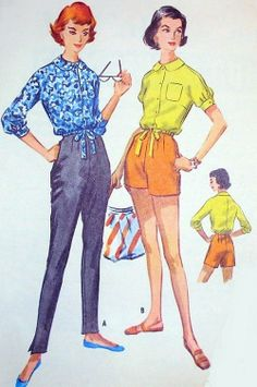 1950s Pin Up High Waist Pants or Shorts and Blouse Pattern McCalls 4159 Vintage Sewing Pattern Slim Cigarette Pants or Short Shorts Drawstri...