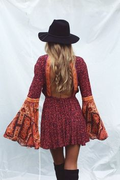 $50 - $100 Boho Chic Tribal Patterned Flare Sleeve Long Sleeved Open Square Back Red Orange One Piece Romper Playsuit Black Knee High Boots And Black Hat Festival Summer Spring Style
