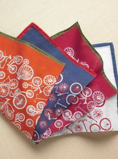 Bicycle Cotton Pocket Square