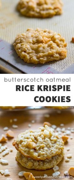 Butterscotch Oatmeal Rice Krispie Cookies These Rice Krispie cookies are packed with chewy oatmeal, sweet butterscotch chips, and crispy Rice Krispies cereal. No dough chilling required, making these super fast to whip up. Beaux Desserts, Cookie Desserts, No Bake Desserts, Just Desserts, Cookie Recipes, Delicious Desserts, Dessert Recipes, Baking Desserts, Rice Recipes