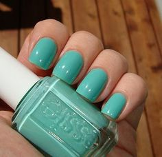 Essie Turquoise and Caicos.  Perfect for Spring!  I'm a sucker for all things Tiffany blue so why not have it on my nails.