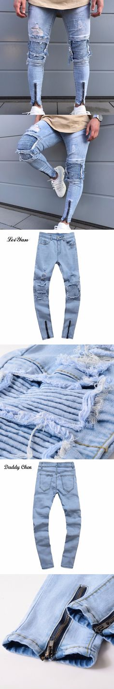 Mens Jeans Solid Stretch Ripped Pants Biker Skinny Slim Fashion Male's Trousers Casual Ankle Zipper Denim Holes Washed Jeans