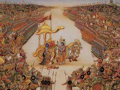 BATTLE OF KURUKSETRA (Bhagavad Gita) - Krishna and Pandava prince Arjuna on the battlefield before between the Kauravas and Pandavas, two groups of cousins of the Indo-Aryan kingdom Kuru.