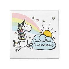 #Adult Unicorn Birthday Paper Napkin - #funny #unicorn #unicorns #horse #horses #magical #colourful #fantasy