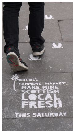"As an advertising campaign we wanted something that would portray the natural and ecological side of the event while keeping with the ""maker"" quality as well. As a solution we went for zero-waste campaign that utilised the high footfall of the area where the event was held. The week of the farmers' market the logo with necessary details was stenciled on footpaths near to the event site."