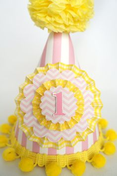 Pink and Yellow Party Hat Pink Lemonade by LibbysPaperPartyHats Birthday Hats, Pink Lemonade, Party Hats, First Birthdays, Trending Outfits, Yellow, Unique Jewelry, Cake, Handmade Gifts