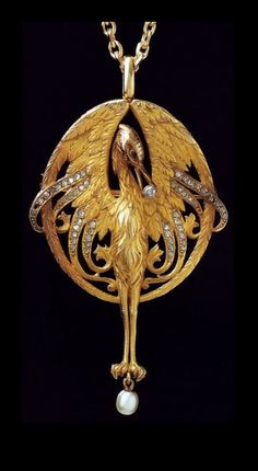 Lluis Masriera - Art Nouveau Colgante. Oro, perlas, diamantes